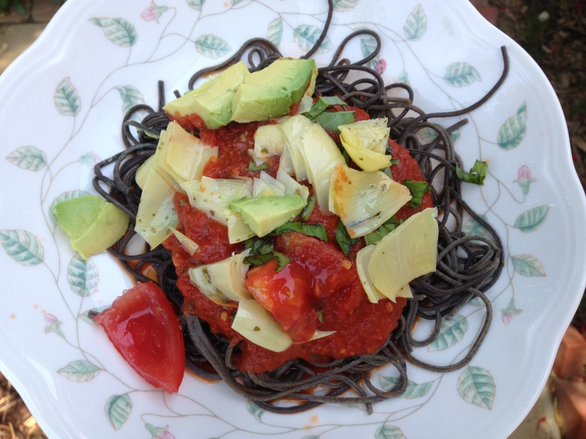 Black Bean pasta artichoke avocado salad tomato carrot Dinner Lunch