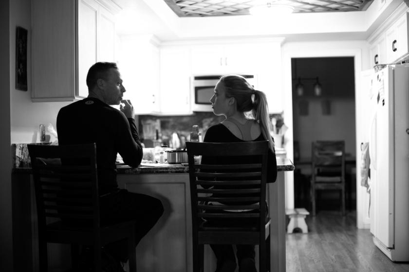 Randy Morgan having dinner talking in kitchen Feb 2013