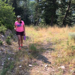 Off the chair lift on the trail...in street shoes (DUH).